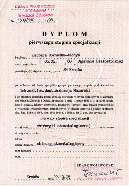 dyplom specjalizacji BJB