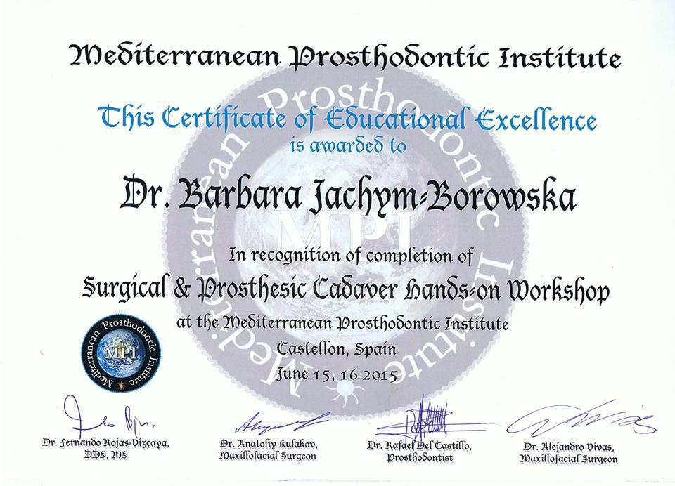 Dr Barbara Borowska-Jachym uczestniczyła w prestiżowym szkoleniu w School of Medicine, University Jaume I Castellon Hiszpania