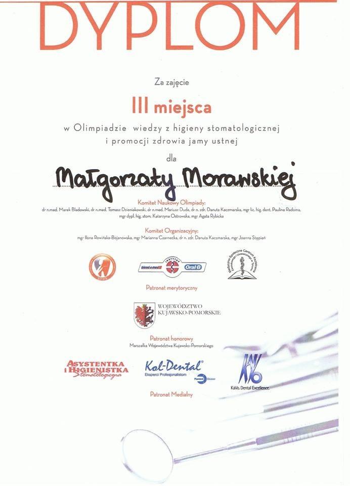 Pani Małgorzata Morawska zajęła 3 miejsce w Olimpiadzie wiedzy z higieny stomatologicznej i promocji zdrowia jamy ustnej. SERDECZNIE GRATULUJEMY !!!!